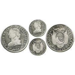 Quito, Ecuador, 2 reales, 1851GJ.