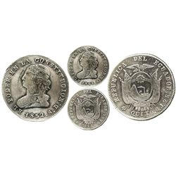 Quito, Ecuador, 2 reales, 1852GJ.