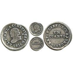 Quito, Ecuador, 1/4 real, 1856GJ.