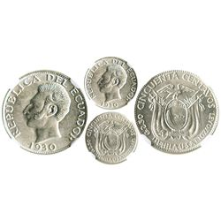 Ecuador (struck in Philadelphia), 50 centavos, 1930-PHILA-U.S.A., encapsulated NGC MS 63.
