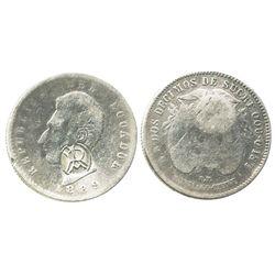 Ecuador (struck in Santiago, Chile), 2 decimos, 1889-SANTIAGO-CHILE, with monogrammed-RA countermark