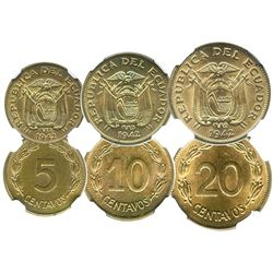 Lot of 3 Ecuador encapsulated brass coins of 1942, finest set graded by NGC, as follows: 20 centavos