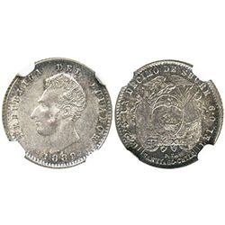 Ecuador (struck in Santiago, Chile), 1 decimo, 1889DT-SANTIAGO-CHILE, second 8 punched over a much h