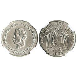 Ecuador (struck in Birmingham, England), copper-nickel 10 centavos, 1924-H, encapsulated NGC MS 63,