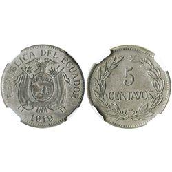 Ecuador, copper-nickel 5 centavos, 1919, 4 berries, encapsulated NGC AU details / environmental dama