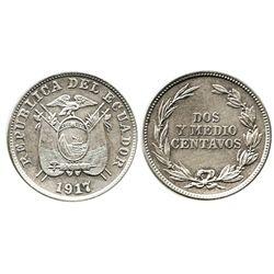Ecuador, copper-nickel 2-1/2 centavos, 1917.