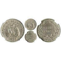 Ecuador (struck in Birmingham, England), copper-nickel 1/2 centavo, 1884-HEATON-BIRMINGHAM, encapsul