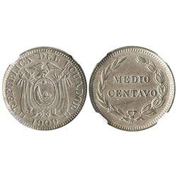 Ecuador (struck in Birmingham, England), copper-nickel 1/2 centavo, 1909-H, encapsulated NGC AU deta