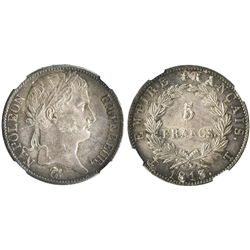 France (Nantes mint), 5 francs, 1813-T, encapsulated NGC MS 61, finest (and only) known graded by NG