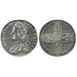 London, England, 1/2 crown, George II, 1746, with LIMA below bust as struck from silver captured fro