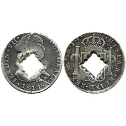 Guadeloupe (British occupation), 9 livres, crenelated square hole in center and crowned-G countermar