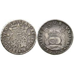 Guatemala, pillar 4 reales, Ferdinand VI, 1759P.