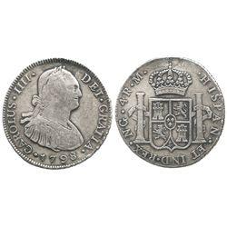 Guatemala, bust 4 reales, Charles IV, 1798M.