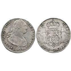 Guatemala, bust 4 reales, Charles IV, 1807M.