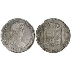 Guatemala, bust 4 reales, Ferdinand VII, 1815/4M, encapsulated XF 40.