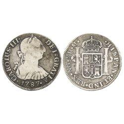 Guatemala, bust 2 reales, Charles III, 1787M.