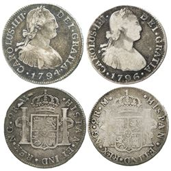 Lot of 2 Guatemala bust 2 reales of Charles IV: 1794M and 1796M.