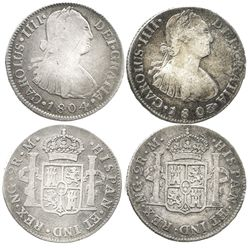 Lot of 2 Guatemala bust 2 reales of Charles IV: 1803M and 1804M.