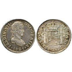 Guatemala, bust 2 reales, Ferdinand VII, 1821M.