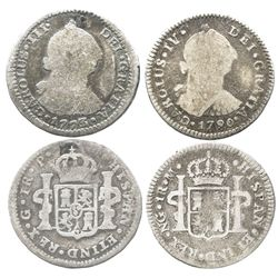 Lot of 2 Guatemala bust 1R: 1773P (Charles III) and 1790/89M (Charles IV transitional, ordinal IV).