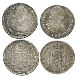 Lot of 2 Guatemala bust 1R of Charles IV: 1792M and 1797M.