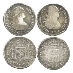 Lot of 2 Guatemala bust 1R of Charles IV: 1798M and 1804M.