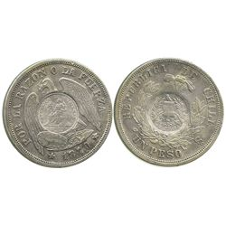 Guatemala, 1 peso, 1894, 1/2 real counterstamp on a Santiago, Chile, 1 peso of 1870, rare early date