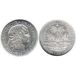 Haiti, 50 centimes 1895, encapsulated NGC MS 62.