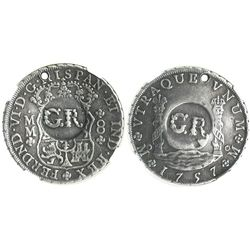 """Jamaica (British), 6 shillings 8 pence, """"GR"""" counterstamp (1758) on a Mexico City, Mexico, pillar 8"""