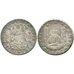 Mexico City, Mexico, pillar 8 reales, Philip V, 1747MF.