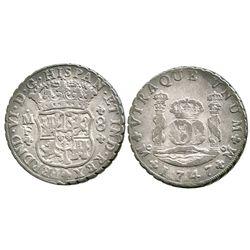 Mexico City, Mexico, pillar 8 reales, Ferdinand VI, 1747MF.