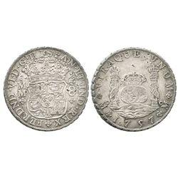 Mexico City, Mexico, pillar 8 reales, Ferdinand VI, 1757MM, with tiny chopmarks as from circulation