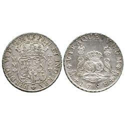 Mexico City, Mexico, pillar 8 reales, Ferdinand VI, 1758MM.
