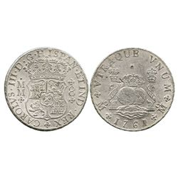 Mexico City, Mexico, pillar 8 reales, Charles III, 1761MM, with chopmark as from circulation in the