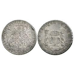 Mexico City, Mexico, pillar 8 reales, Charles III, 1766MF.