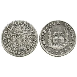 Mexico City, Mexico, pillar 2 reales, Philip V, 1736/5MF.
