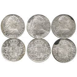 Lot of 3 Mexico City, Mexico, bust 8 reales, Charles III, 1786FM.