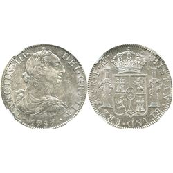 Mexico City, Mexico, bust 8 reales, Charles III, 1787FM, encapsulated NGC AU 55.