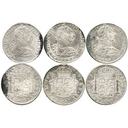 Lot of 3 Mexico City, Mexico, bust 8 reales of Charles III (1780FF, 1782FF and 1784FM).
