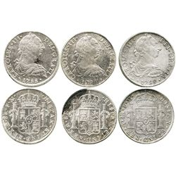 Lot of 3 Mexico City, Mexico, bust 8 reales of Charles III (1787FM, 1788FM and 1789FM) all UNC with