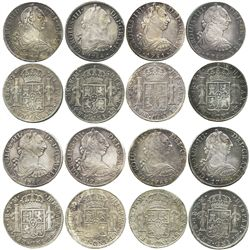 Lot of 8 Mexico City, Mexico, bust 8 reales of Charles III: 1778FF, 1781FF (2), 1784FM, 1786FM (2),