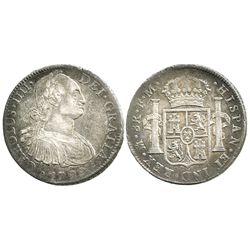 Mexico City, Mexico, bust 8 reales, Charles IV, 1799FM.