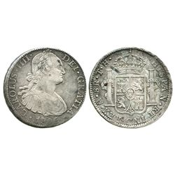 Mexico City, Mexico, bust 8 reales, Charles IV, 1805TH (narrow date).