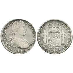 Mexico City, Mexico, bust 8 reales, Ferdinand VII transitional (armored bust), 1810HJ.