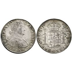 Mexico City, Mexico, bust 8 reales, Ferdinand VII transitional (armored bust), 1811HJ.