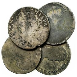 Lot of 4 Mexican War of Independence bust 8R, various dates and mints.