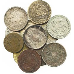 Lot of 12 Mexican Republic cap-and-rays coins (eleven 8R and one 4R), (sold as is, no returns)