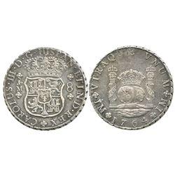 Lima, Peru, pillar 8 reales, Charles III, 1764JM, dot over both mintmarks.