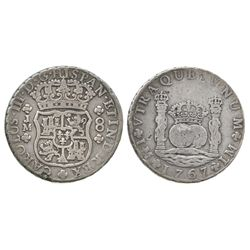 Lima, Peru, pillar 8 reales, Charles III, 1767JM, dot over left mintmark only.