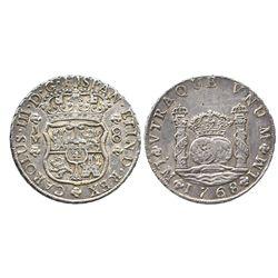 Lima, Peru, pillar 8 reales, Charles III, 1768JM, dot over left mintmark only.